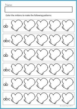 Math Worksheets & Activities - Winter (Beginning Skills). 43 pages. A page from the unit: Color and make a pattern (ab, abc, aab, abb)