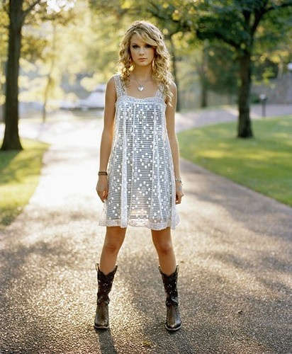 Love the cowgirl boots with dresses!