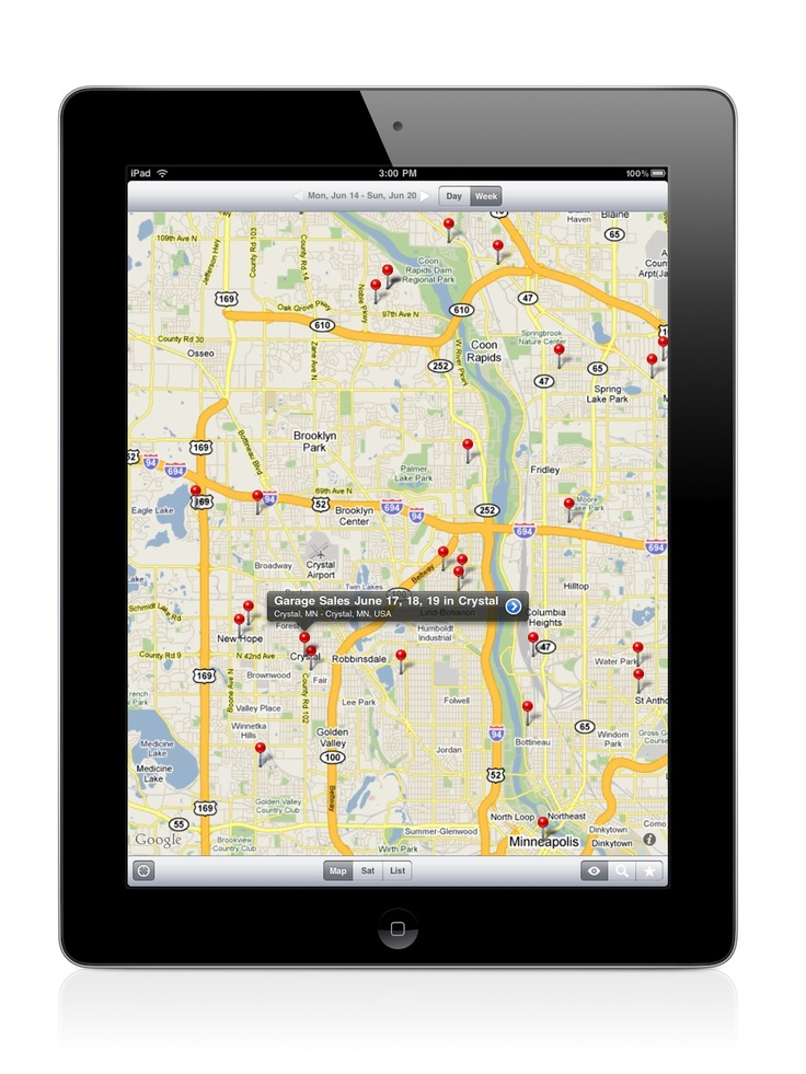 Garage sale app.  This app pulls rummage sales from Craigslist and maps them for you!