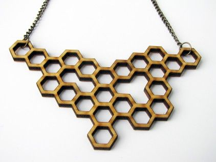 Wood Honeycomb Necklace: Necklaces Wood, Wood Honeycombs, Gifts Ideas, Etsy, Honeycombs Necklaces, Jewelry, Cool Necklaces, Abbey Necklaces, 22 00