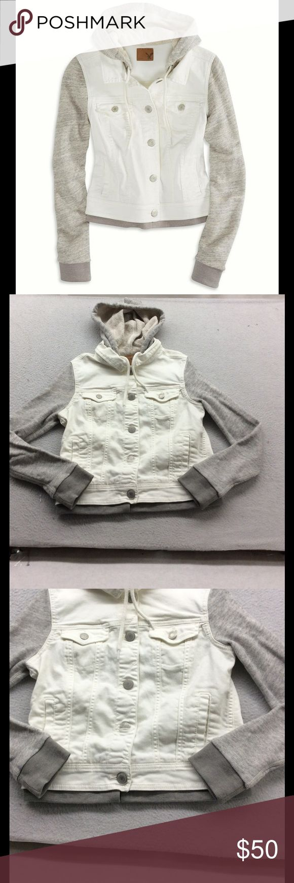 AEO Hoodie White Denim Vest Hybrid Jacket New New American Eagle Outfitters hybrid jacket. White denim vest with hoodie sleeves and draw string hood. P 44. American Eagle Outfitters Jackets & Coats