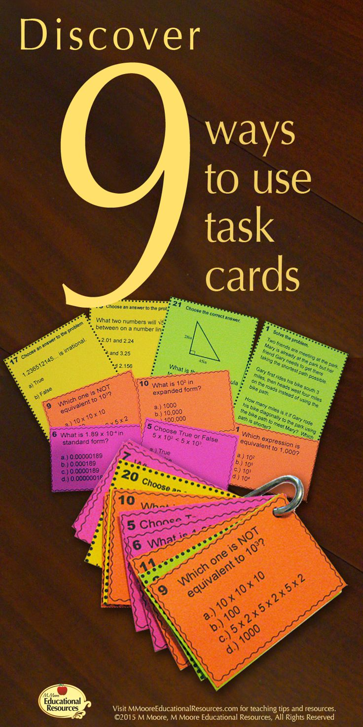 Task Cards are so Versatile, ​Even in Middle and High School!   ​They are great because students feel they have a choice in which task they do first and in middle school this is a great way to engage students.  Read all about 9 Ways to use task cards!