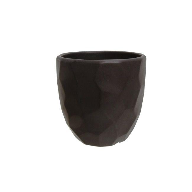 Ceramic Geometric Flower Pot Glazed Black (15cmDx13.5cmH)