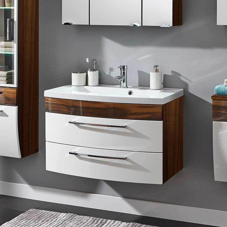 Badezimmer waschbeckenschrank in weiß hochglanz walnuss 2 schubladen jetzt bestellen unter https