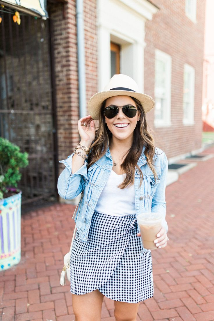 Spring Outfit Idea via Glitter & Gingham // Ft. Madewell Gingham Wrap Skirt, Denim Jacket, Chuck Taylors // How to wear a panama hat // summer outfit inspiration