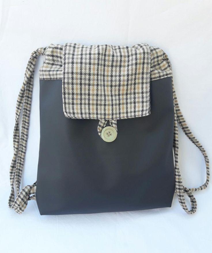 Backpack of vegan leather and fabric, gift gor her, fabric backbag, string backbag