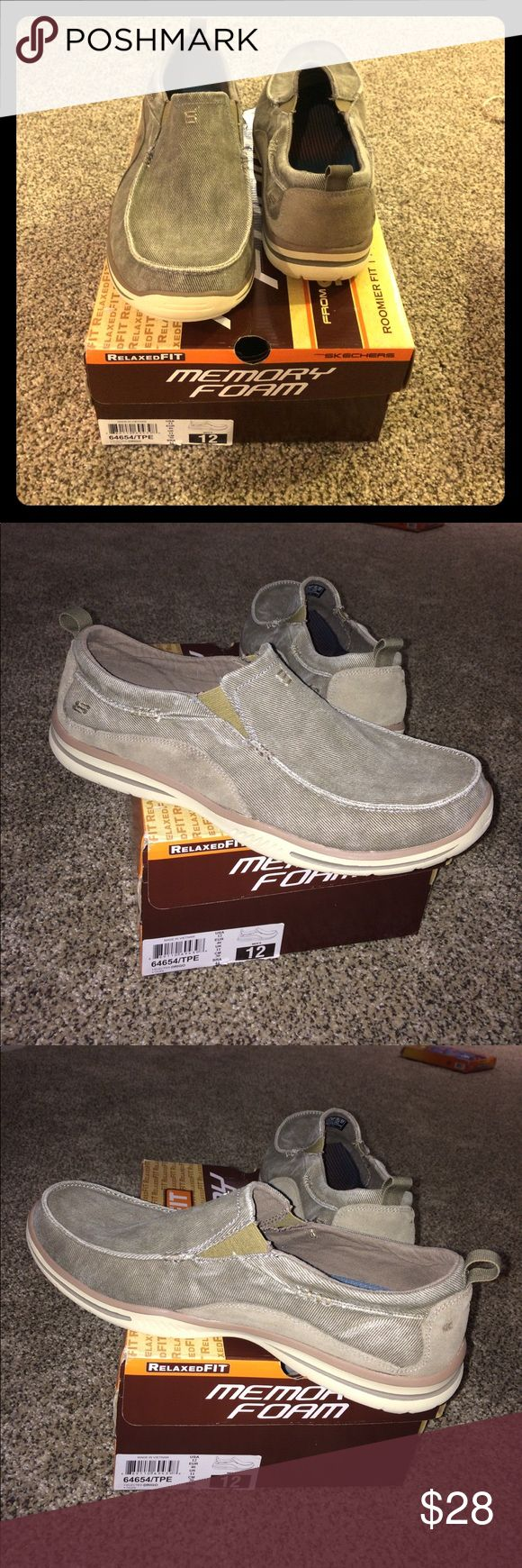 Men's Skechers Memory Foam Relaxed Fit Shoes NIB Men's Skechers Memory Foam Relaxed Fit Shoes NIB. Brand new with box. Air cooled memory foam inner sole. Size 12. Canvas outter with stretch points on the side of the top. Skechers Shoes Loafers & Slip-Ons