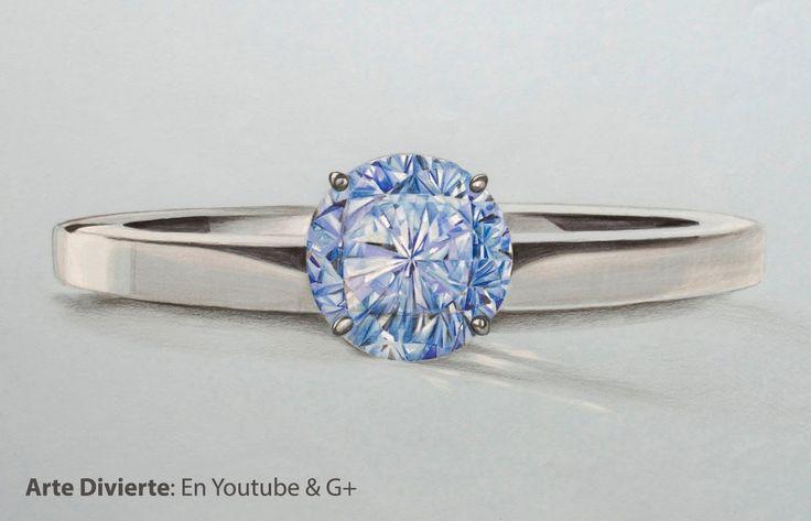 Cómo dibujar un anillo con diamante azul - Arte Divierte.