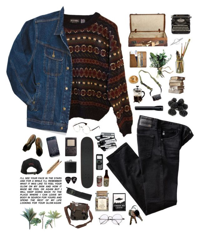 """""""the boy who believed in aliens."""" by tzingfung ❤ liked on Polyvore featuring INDIE HAIR, Wrangler, AG Adriano Goldschmied, Stussy, BLACK BROWN 1826, Primula, DSPTCH, CO, men's fashion and menswear"""