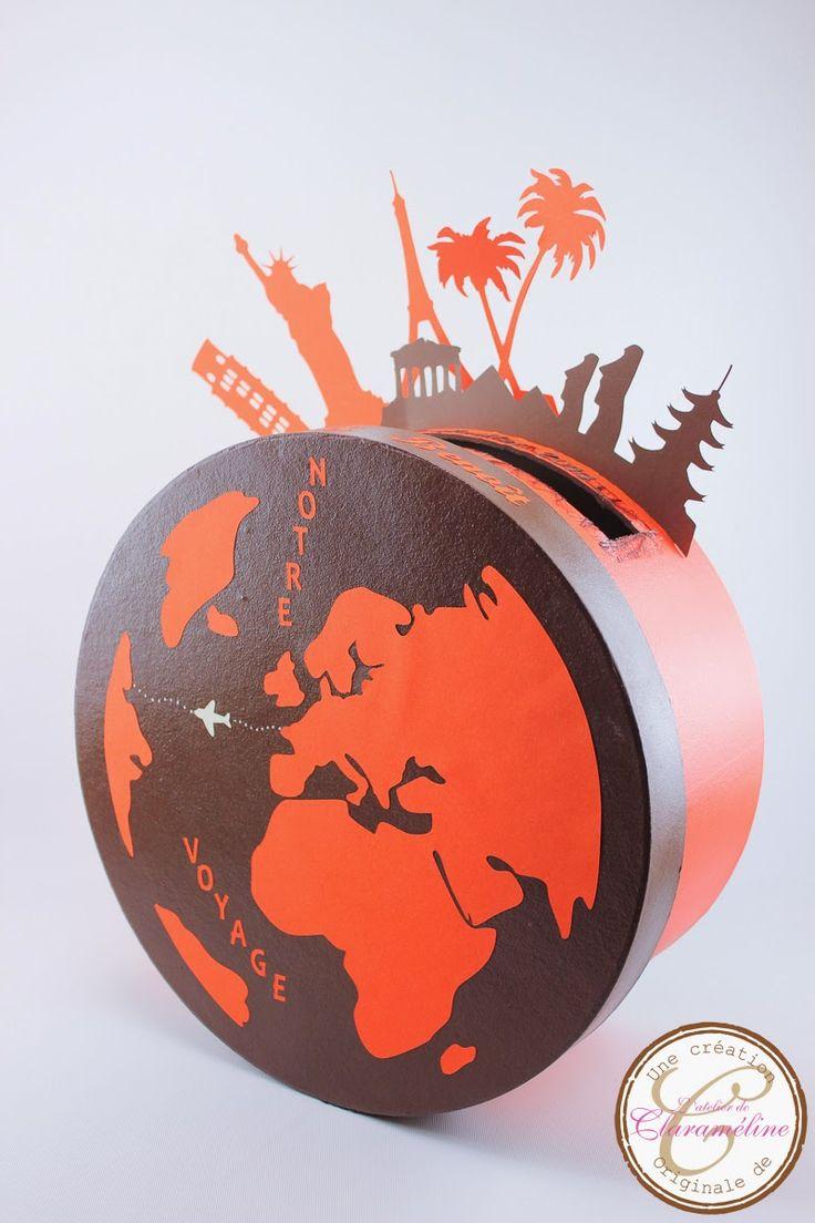 Urne ronde voyage orange et chocolat | L'atelier de Claraméline