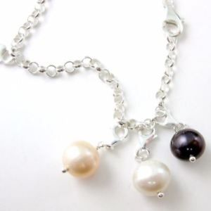 Sterling Silver Charm Bracelet Charms-Freshwater Pearl-9mm-Wire wrapped w/Clasp