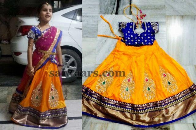 Orange Zardosi Kids Half Saree - Indian Dresses