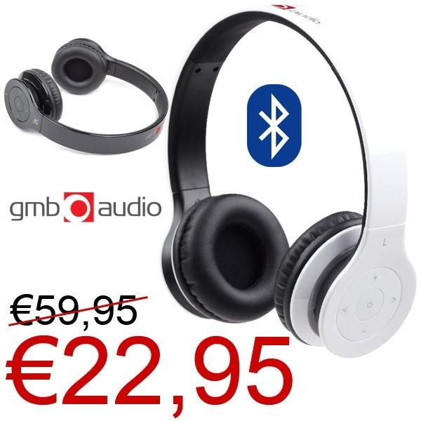Gembird Bluetooth Headphones Black or White voor €22,95! www.euro2deal.nl
