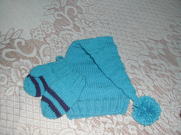Knitted Hat and Mitten Set for Baby