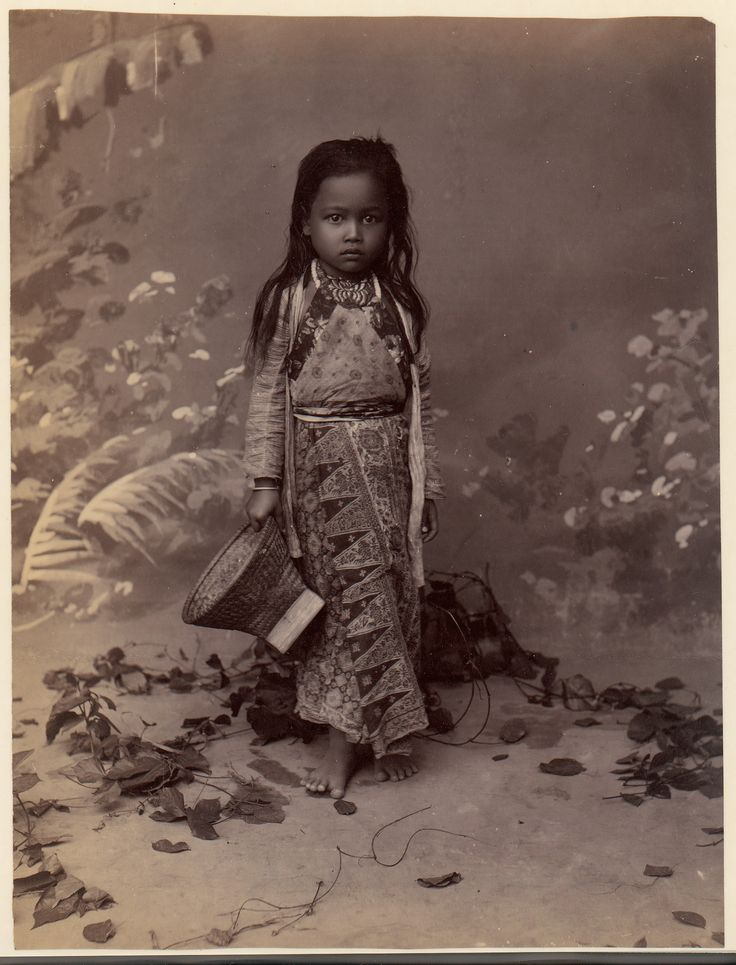 Indonesia, Java ~ Javanese Child. Exotica painted backdrop. 1860s-70s