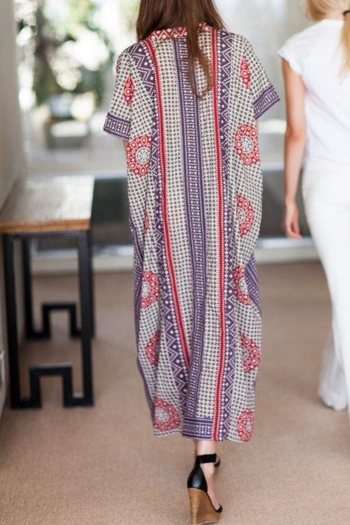 Gorgeous batik patterned maxi styled with a great chunky black pair of heels. A great hippy look for the summer I reckon girls.