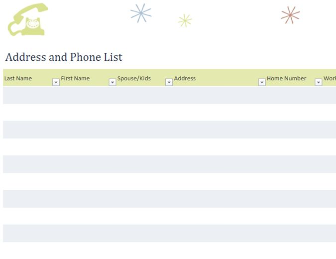 Address and phone list