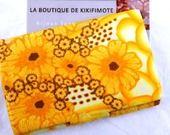 """Porte-cartes de visite de luxe """"Soleil"""", décor fimo, jaune, marron, blanc --PORT INCLUS---- : Etuis, mini sacs par kikifimote"""