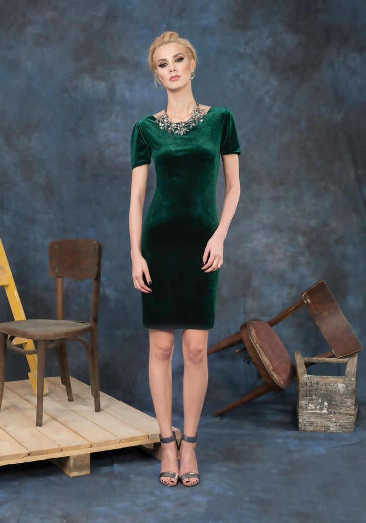 Delicate velvet dress which will make you feel comfortable but very attractive at every cold season party. Wear it with massive accessories for a charming look .