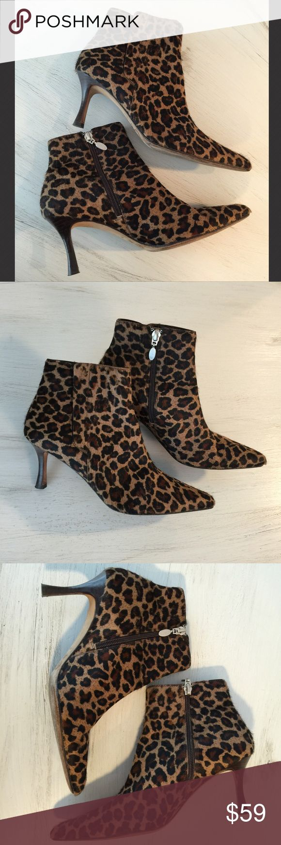 Circa Joan & David Leopard-Print Calf Hair Boots These are gorgeous calf hair ankle boots with side zip by Circa Joan & David. They are in excellent used condition with light wear. No wear to the calf hair. Leather soles. 2.5 inch heel. Size 6. Joan & David Shoes Ankle Boots & Booties