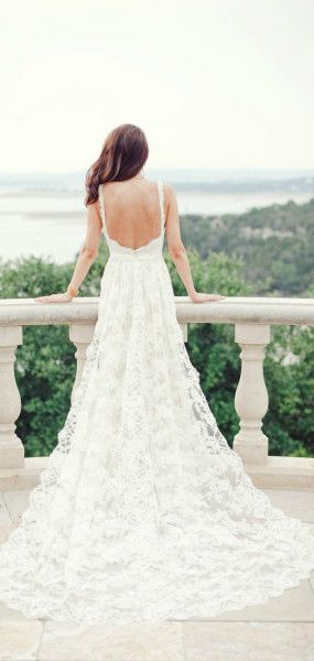 White  Lace Low Back Wedding Dress
