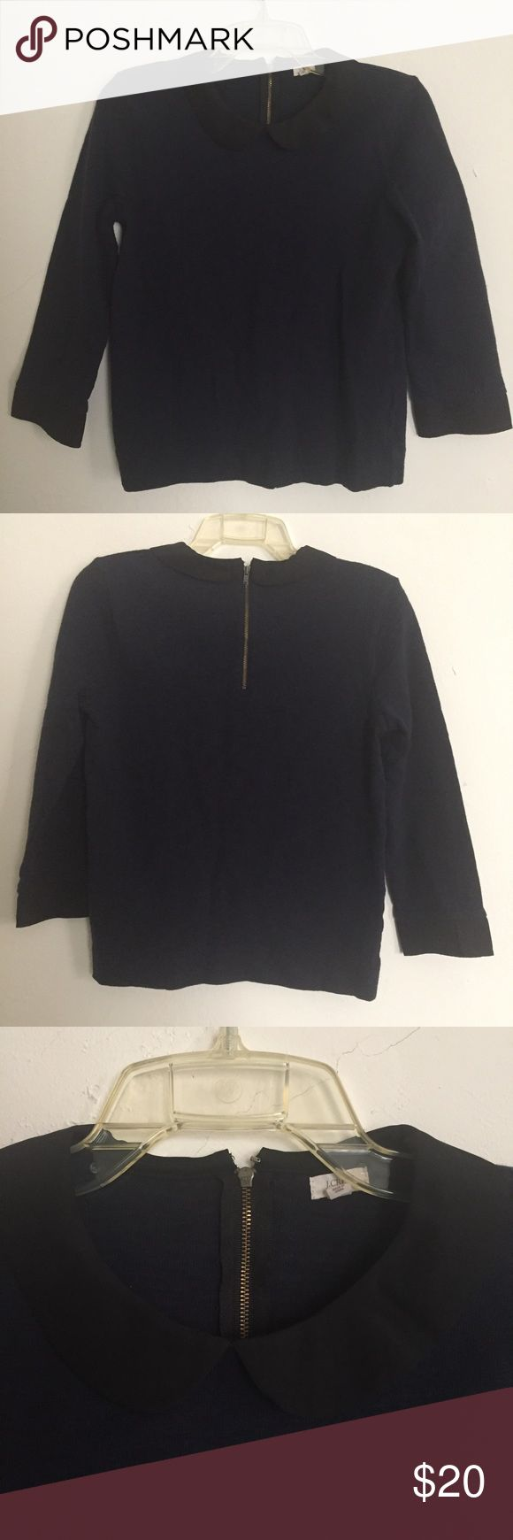"""J Crew collared navy blue Top J Crew collar top -navy blue with black collar and 3/4 sleeves -size small -EUC, no holes/stains   Measurements: Armpit to armpit ~17"""" Length ~22.5"""" Sleeve length ~19"""" J. Crew Tops Blouses"""