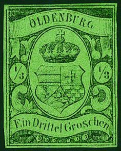 Old German States Oldenburg, Michel 5.- 1 / 3 Gr. black on greenish olive, having bright colors unused extremely fine copy with large parts the original gum, on all sides good margins. A beautiful copy this large Old Germany rarity, the in almost all collections is absent! Photo expertize Berger BPP.