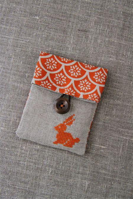 Orange cross-stitched rabbit linen pouch, embroidery, small   Handmade by Plushka   madeit.com.au