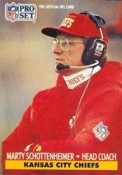 Marty Schottenheimer Football Card (Kansas City Chiefs) 1991 Pro Set #189 by Hall of Fame Memorabilia. $30.95. Marty Schottenheimer Football Card (Kansas City Chiefs) 1991 Pro Set #189. Signed items come fully certified with Certificate of Authenticity and tamper-evident hologram.