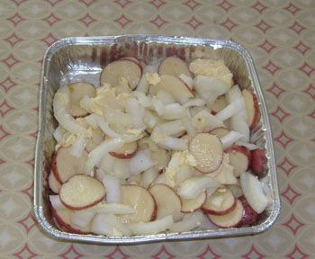 Potato and onion- cooked on the smoker