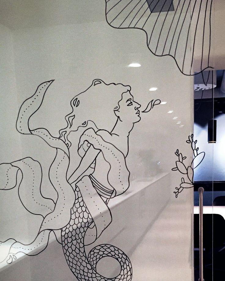 Temporary art - drawing on glass by Sofia Karlström -- #merman #artnouveau https://www.instagram.com/fiakarlstrom/--