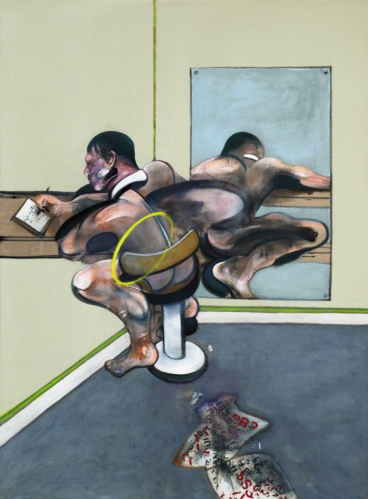 Рисунок пишущего своё  отражение в зеркале,  1976,   Фрэнсис Бэкон   холст, масло 78 х 57 в 7/8. (198.1 х 147 см)