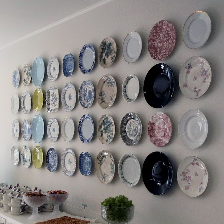 Plates are a great way to decorate large expanses of wall