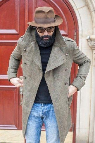 Men's Grey Overcoat, Black Turtleneck, Blue Jeans, Brown Wool Hat