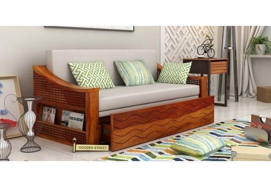 Thar Sofa Cum Bed (Honey Finish)