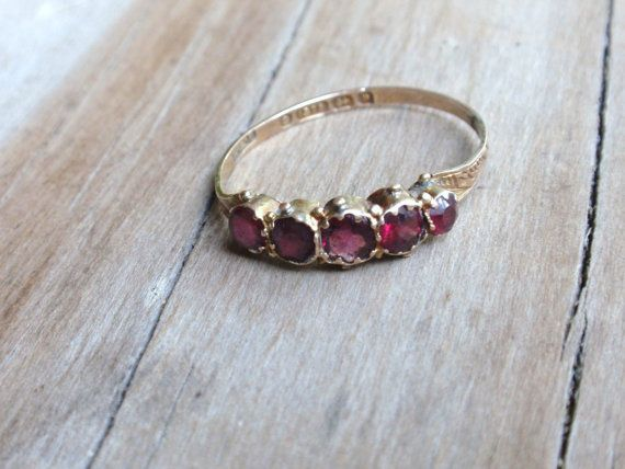 Garnet Wedding Band Antique Ladies by LuceesTreasureChest on Etsy