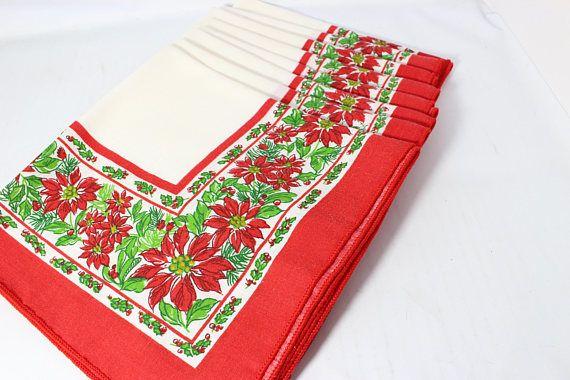 Christmas Cotton Table Napkins Set of 8 Red Poinsettias