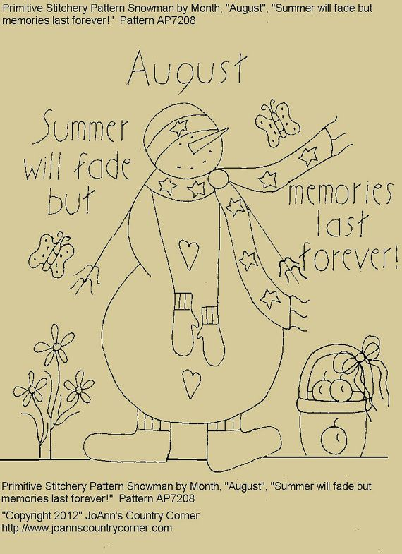 "Primitive Stitchery E-Pattern Snowman by Month ""August"", ""Summer will fade but memories last forever!"""