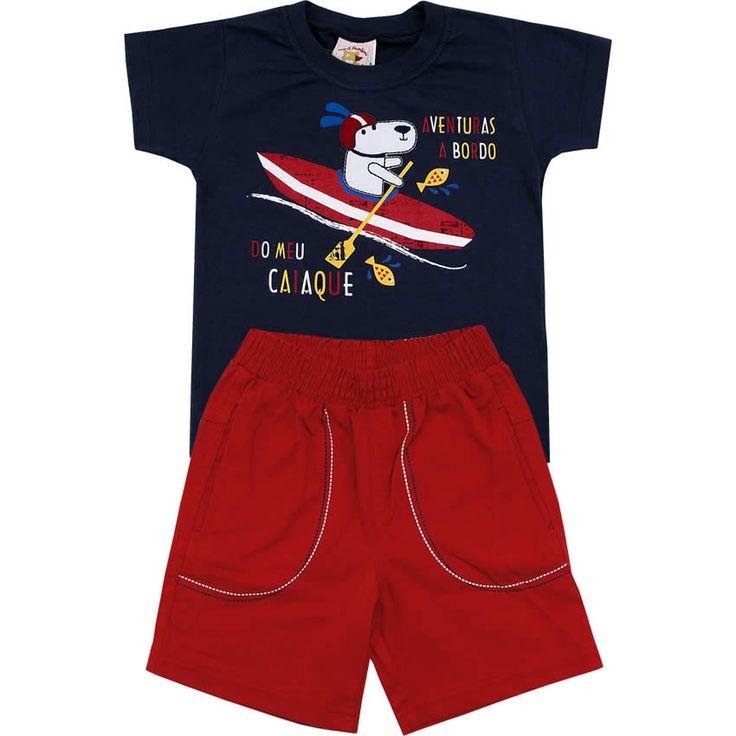 Conjunto Infantil de Sarja Masculino Marinho - Nini & Bambini :: 764 Kids | Roupa bebê e infantil