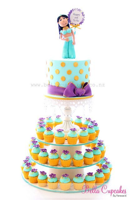 princess Jasmine cake and cupcakes