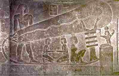 It is not understood how the insides of some pyramids had colourful paintings and no deposits of soot from the required light sources. Is it because the Egyptians had light bulbs and electricity? Several reliefs like this one have been found, as have strange pots containing copper cylinders. Could these be galavanic elements - primitive batteries?: