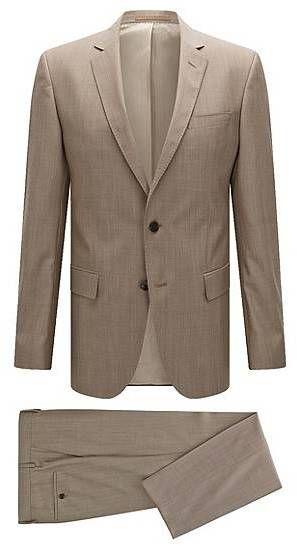 BOSS Slim-Fit Anzug aus Schurwolle mit AMF-Nähten