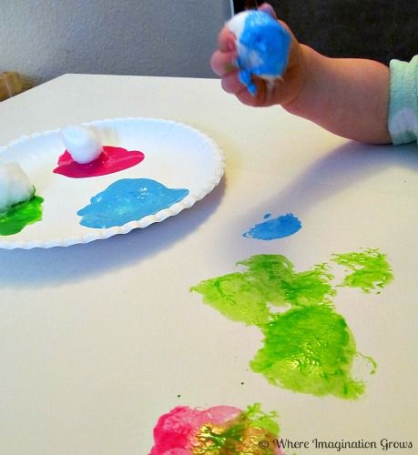 painting with cotton balls for kids cotton paintings