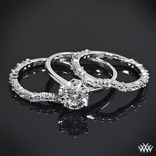 Popular Custom Diamond and Baguette Contour Wedding Rings are set in platinum and feature A CUT ABOVE