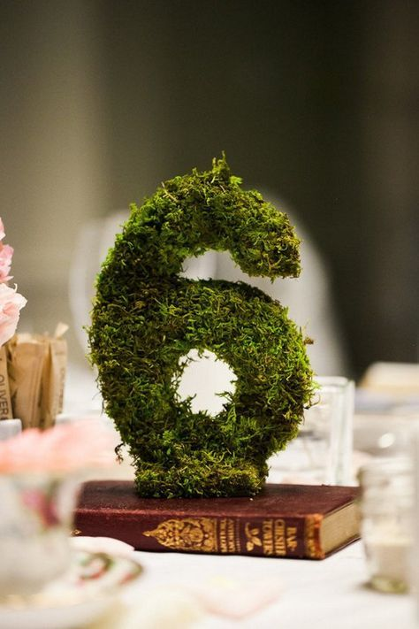 rustic moss wedding table number centerpiece / http://www.deerpearlflowers.com/moss-decor-ideas-for-a-nature-wedding/3/