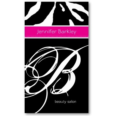 124 best designer business cards images on pinterest business 232 animal business card zebra beauty salon pink reheart Image collections