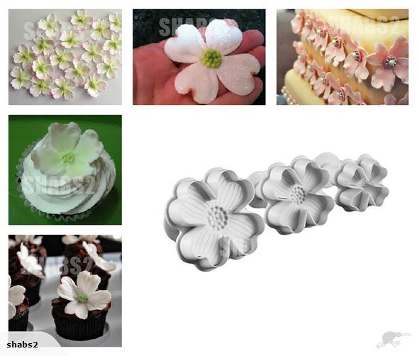 Fondant Dogwood Flower Plunger Cutter Set Of 3 Trade Me Cakes
