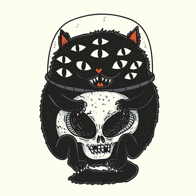 Space cat #illustration #doodle #cartoon #characterdesign #lowbrowart #lowbrow #spacecat #cat #spooky #creepy #monster #creature #alien #skull
