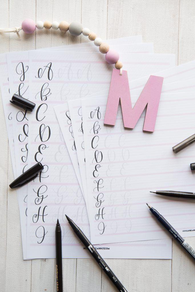 Printable Lettering Übungsblätter für Deine Edding/Tombow Stifte und für Deine Pentel/Tombow Brushpens