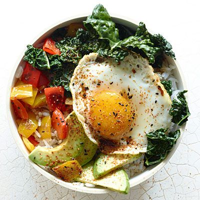 This recipe is a fresh take on bibimbap, a Korean rice dish traditionally topped with meat, vegetables, egg, and chili paste.